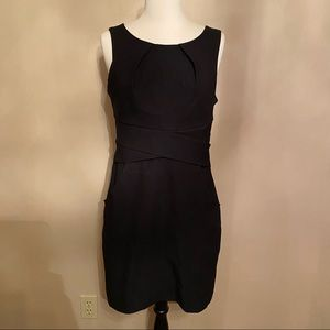 Women Black Business Casual Dress Sleeveles Pocket